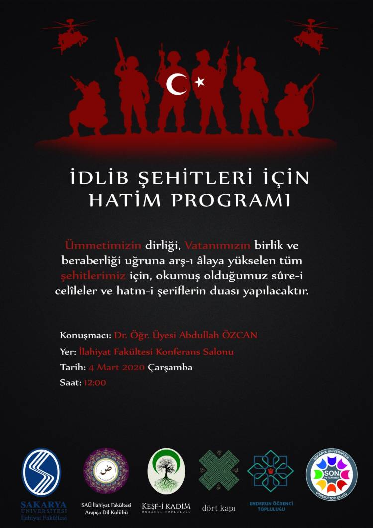 İdlip Şehitlerimiz İçin Hatim Programı