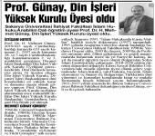 Prof. Dr. H. Mehmet Günay'ın Din İşleri Yüksek Kurulu Üyeliği