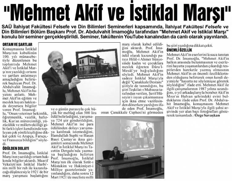 Mehmet Akif ve İstiklal Marşı Konulu Seminer