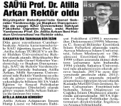 Prof. Dr. Atilla Arkan'ın Rektör Atanması